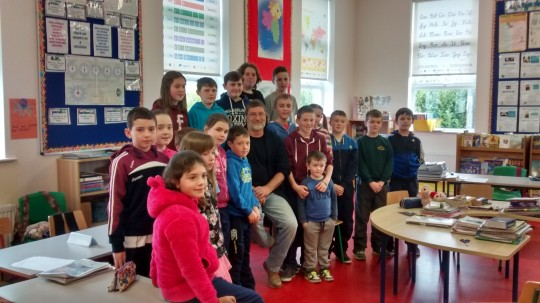 Trevor with the Clydagh N.S. pupils